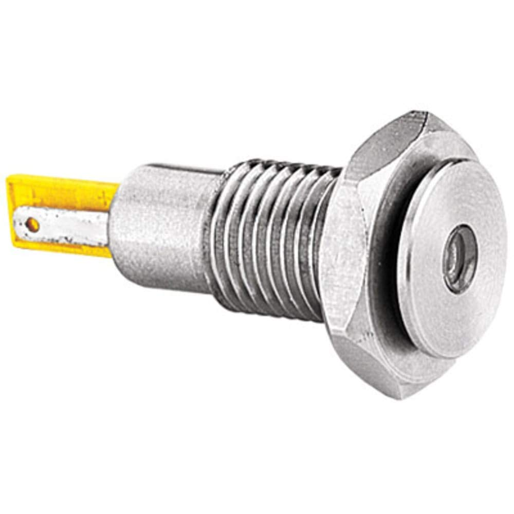 Indicator; PNL-MNT; LED; Green; 100mcd; 15mm; 12/24VDC; 2.8mm Tag; 3In; 41.2mm; 25mA; -40de, Pack of 2