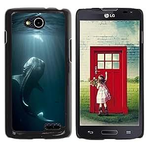 YOYOYO Smartphone Protección Defender Duro Negro Funda Imagen Diseño Carcasa Tapa Case Skin Cover Para LG OPTIMUS L90 D415 - pescado de mar pesca azul naturaleza buceo monstruo