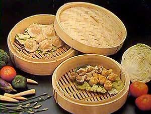 Juego de recipientes de bambú para cocinar al vapor (3 piezas, 20 cm)