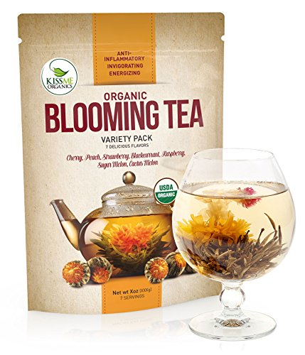 Blooming Tea - 7 Organic All Natural Flavors of Flowering Tea - 100% Organic Calendula Flowers and Green Tea Leaves in Hand Sewn Blooming Tea Balls from Kiss Me Organics - 7 Blooms - 1 of Each Flavor Each Flavor