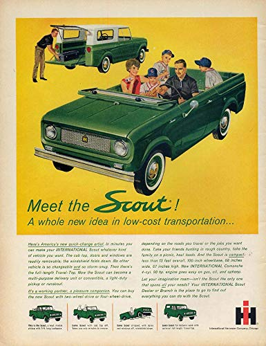 Meet the International Scout A whole new idea in low-cost transportation ad 1961 from The Jumping Frog