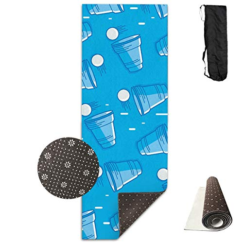 Jessent Yoga Mat Non Slip Beer Pong 24 X 71 Inches Premium Fitness Exercise Pilates Carrying Strap ()
