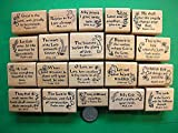 Quality Custom Rubber Stamps 20 Scripture Stamps, Wood Mounted, Set #2 Carved Wooden Stamps