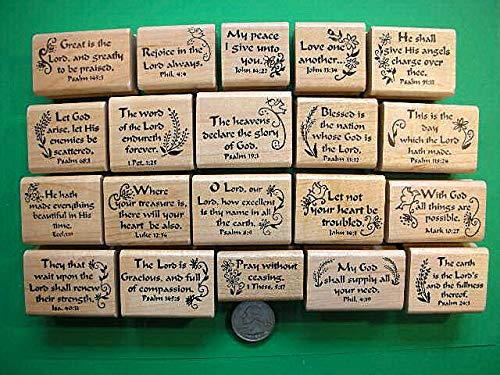 20 Scripture Stamps, Wood Mounted, Set #2 - Rubber Stamp Wood Carving Blocks by Wooden Stamps