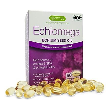 Echiomega vegana omega-3-6-9 cápsulas, aceite de semilla de hierbas de echium, 60 cápsulas: Amazon.es: Salud y cuidado personal
