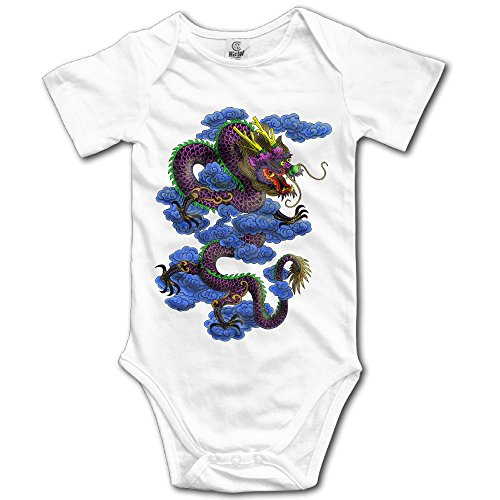 Arromper Chinese Calligraphy Dragon Boy's & Girl's Short Sleeve Romper Bodysuit Outfits White 6 M