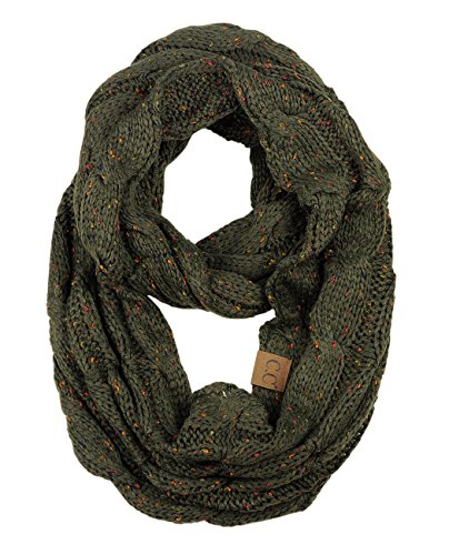 NYFASHION101 Soft Winter Warm Chunky Knit Cowl Infinity Loop Scarf, Confetti Dark Olive
