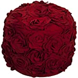 Cheap OS 1 Piece Red Square Shaped Small Ottoman, 18 Inch, Floral Pattern, Pouf, Wool, Berry Red, Damask Flower Paisley Medallion Hippie Bohemian Kashmir Boho Chic Indie Sleek Fashion Classic