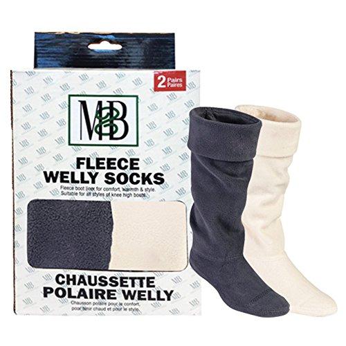 Moneysworth & Best Fleece Welly Socks - Grey/Cream - Pack of 2 - Size Medium