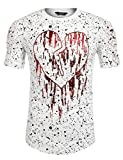 Search : COOFANDY Men's Heart-Print Hip Hop Graphic Longline Curved Hem T-Shirts