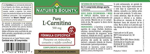 Natures Bounty L-Carnitina 500 Mg - 30 Comprimidos: Amazon.es: Salud y cuidado personal