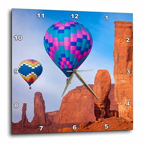 3dRose Hot Air Balloons, Monument Valley, Navajo Tribal Park, Arizona, USA. - Wall Clock, 10 by 10