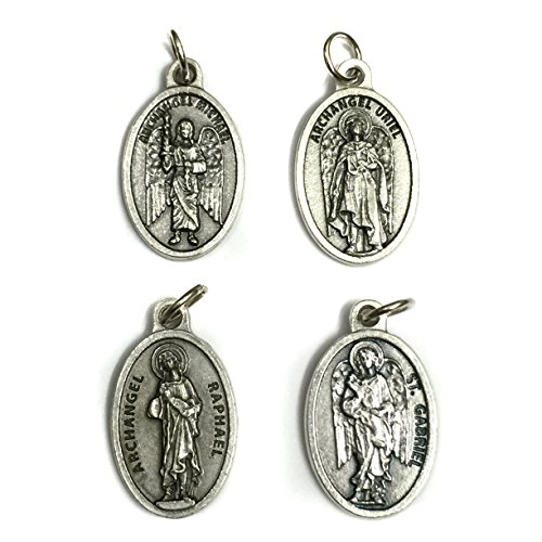 Set of 4 Archangel Michael Gabriel Raphael Uriel Protection Medal Pendant Charm Pray for US Prayer Made in Italy Silver Tone 3/4 Inch Four Italian Charm