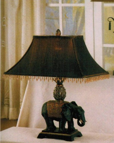 - Set of 2 Table Lamps with Elephant Design in Dark Finish