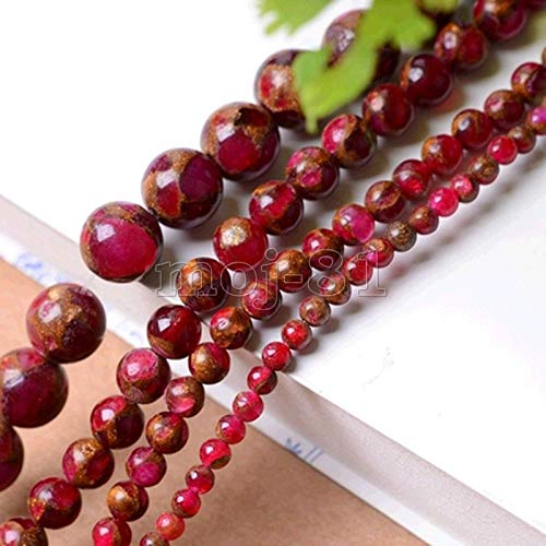 (FidgetFidget 6/8/10mm Natural Red Ruby in Quartz with Pyrite Round Gems Loose Beads 15'' AAA+ 8mm)