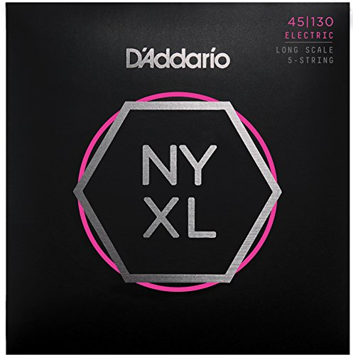 D'Addario NYXL45130 Nickel Wound Bass Guitar Strings, 5-String Regular Light, (130 Long Scale)