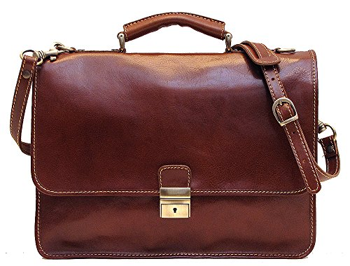 - Cenzo Italian Leather Laptop Briefcase Bag in Brown Calfskin