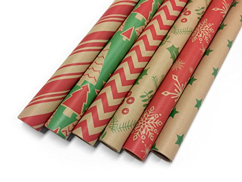 Kraft Classic Wrapping Paper Set - 6 Rolls - Multiple Patterns - 30'' x 120'' per Roll by Note Card Cafe