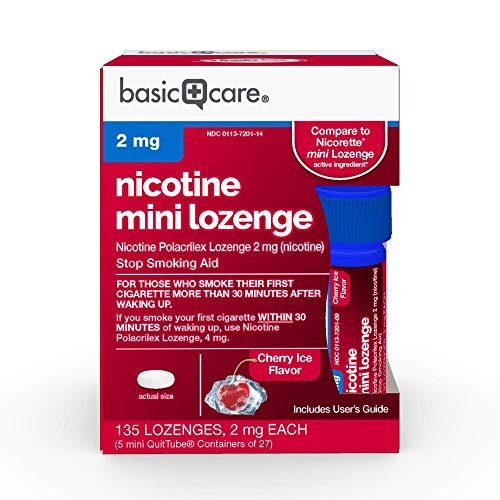 - Basic Care Nicotine Mini Lozenge, Stop Smoking Aid, Nicotine Polacrilex 2 mg (Nicotine), Cherry Ice Flavor, 135Count