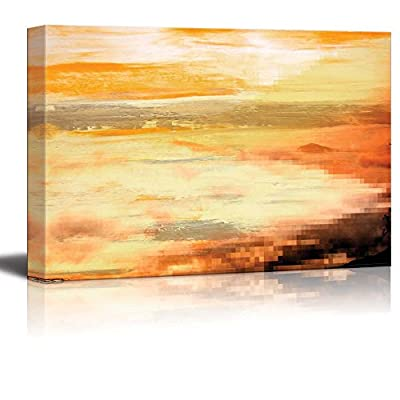 Gorgeous Technique, Beautiful Abstract Brown Mosaic on The Corner with Yellow and Gold Stripes Over It, With Expert Quality