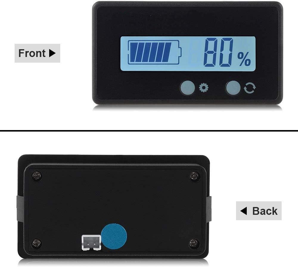 PHILED 2PCS Jauge de Moniteur de capacit/é de Batterie LCD,Indicateur d/état de la Batterie au Plomb 12V 48V,Testeur de Batterie au Lithium r/étro-/éclairage Vert pour Batterie de v/éhicule 36V 24V