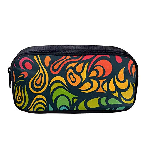 Customize Oxford Cloth Student Pen Pencil Case Rainbow Swirl Coin Purse Pouch Cosmetic Makeup Bag