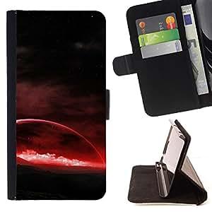 KingStore / Leather Etui en cuir / Samsung Galaxy S6 EDGE / Planeta rojo