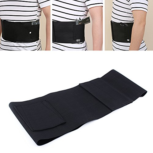 Yosoo Waistband Holster Elastic Belly Band Waist Pistol Belt Holster Core Defender for Concealed Carry Gun with 2 Mag Magazine Pouch,Black (Belt Ventilated Core Elastic)