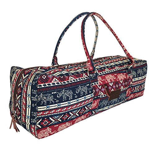 Kindfolk Yoga Mat Duffel Bag Carrier Patterned Canvas with Pocket and Zipper (Karma)