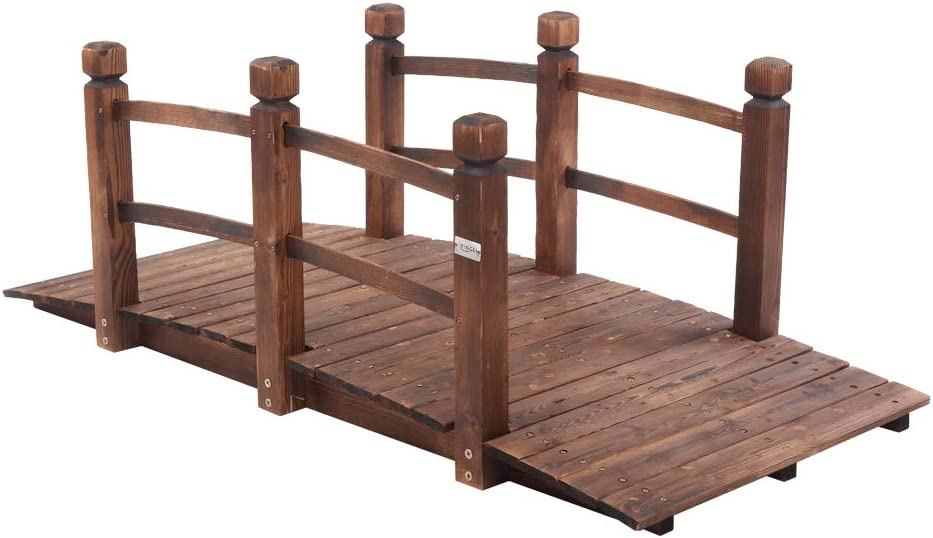 VINGLI 5 ft Garden Bridge, Classic Wooden Arch with Safety Rails Stained Finished Footbridge, Decorative Pond Landscaping, Backyard, Creek or Farm