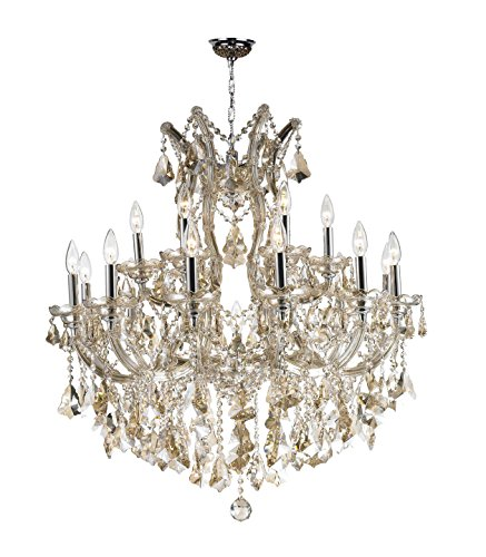 Worldwide Lighting Maria Theresa Collection 19 Light Chrome Finish and Golden Teak Crystal Chandelier 30