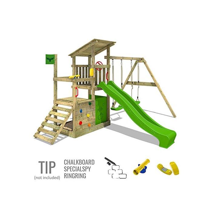 51X%2B1snXrtL XXL Torre de escalada con 3 niveles para su jardín con XXL cajón de arena - Calidad y seguridad verificadas Madera maciza impregnada a presión - Viga de columpio de 9x9cm, postes verticales de 7x7cm - Made in Germany 10 años de garantía* para todos los elementos de madera - Instrucciones de montaje detalladas para un montaje fáci