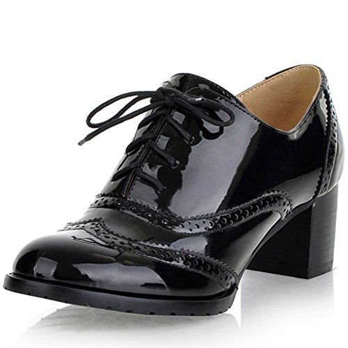 Leather Heel Ankle Vintage Lace Black Cuban Booties Oxfords Block Brogues Pu Size Women's Dress 3 Large up Shoes DoraTasia 5q0zwAXx5