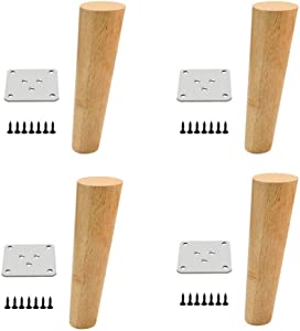 Solid Wood Furniture Legs x4, Furniture Replacement feet, Strong Load Bearing, Suitable for beds, cabinets, Sofas, Screws and Thickened Fixed Iron Sheets/B / 30cm