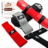 GymFoxy Fabric Resistance Band for Butt and Leg- 2 Band Set- Pro-Grade Barbell Squat Pad- Ankle Attachment Pair- Fitness & Food Journal- Carrying Bag- Full Body Workout Video -Leg Day Kit