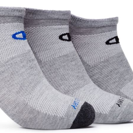 Champion Men's 3 Pack No Show Training Socks, Grey Assortment, Sock Size: 10-13/Shoe Size:9-11