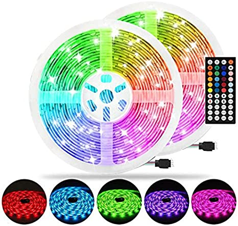 Amazon Com Aveylum 65 6ft Led Strip Light Rgb Flexible Rope Lights 5050 Smd 600 Leds Non Waterproof Ip20 20m Tape Light With 44 Keys Wireless Controller And 24v Power Adapter For Home Kitchen