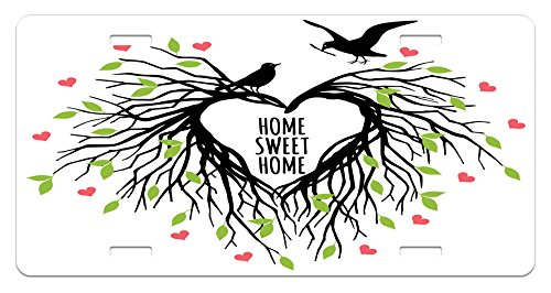 Tree of Life License Plate by Ambesonne, Heart Shaped Bird Nest Sweet Home Quote Hope Family Partners in Nature, High Gloss Aluminum Novelty Plate, 5.88 L X 11.88 W Inches, Black Green Pink