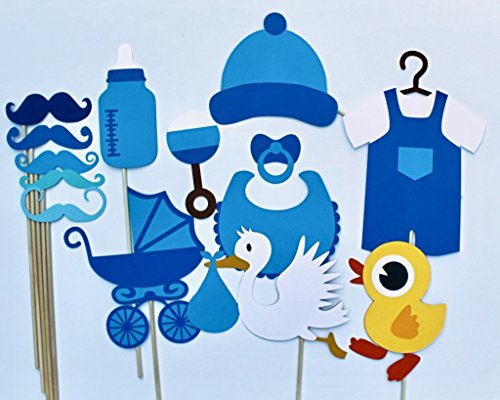 Boy Baby Shower Photo Booth Props - 14 Pc - For Booth A Photo A Creating Party