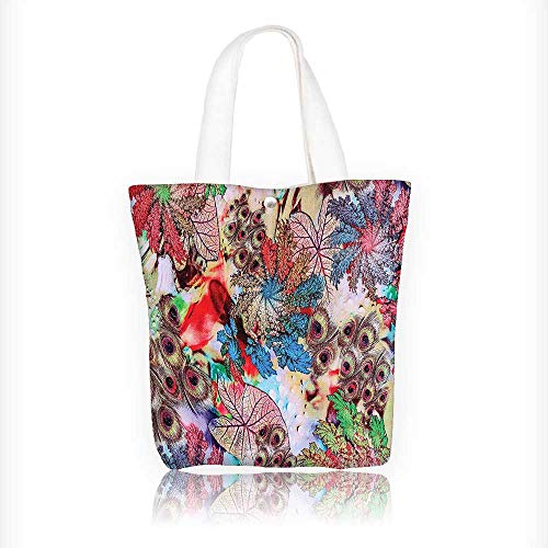 - Canvas Tote Handbag with and Leaves Print Green Blue Red Shoulder Bag Purses For Men And Women Shopping Tote W16.5xH14xD7 INCH