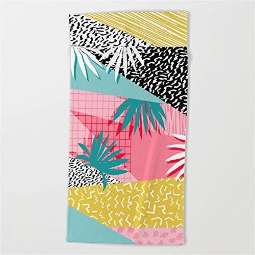 Huisfa Bingo - Throwback Retro Memphis neon Tropical SoCal Desert Festival Trendy Hipster Pattern pop Art Beach Towel 31x51 Inches -