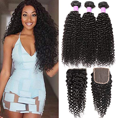 Flady Brazilian Curly Hair with Closure 18 20 22+16inch 10A Unprocessed Brazilian Virgin Hair 3 Bundles with Free Part Closure Natural Black Human Hair Bundles With Closure