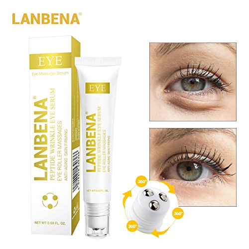 (Peptide Wrinkle Eye Serum Anti-Puffiness Eye Roller Massages for Eye Clearly Brighter+Remove Fine Lines Dark Circle Eye Bag+Skin Anti-Aging Moisturizing+ Anti Fatigue Edema)