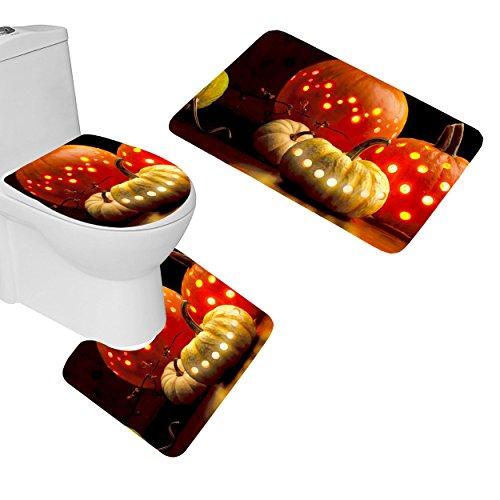 Smooffly Pumpkins Bathroom Rugs, Halloween Holiday Pumpkins Garlands Pattern 3 Piece Bathroom Mat Set,Contour Mat U-Shaped Toilet Floor Rug Soft Non-Slip Bathroom Decor, -
