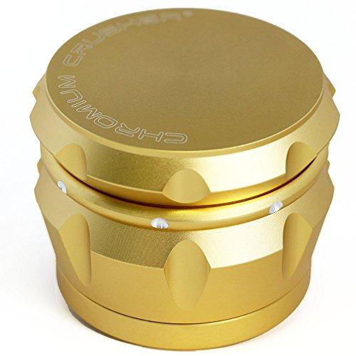 m 2.5 Inch 4 Piece Tobacco Spice Herb Grinder -Vivid Gold (4 Piece Herb)