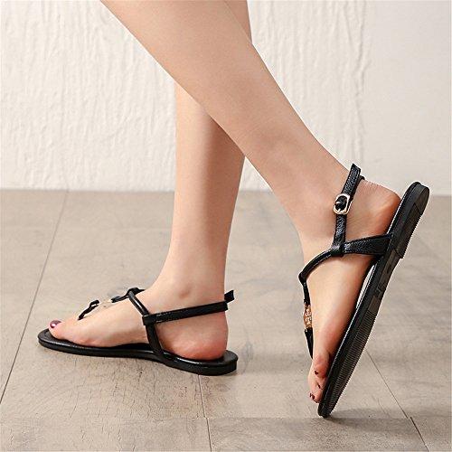 EU 3 de Espiga Planas Verano Negro Color o Sandalias de Tama Mujeres Simples Zapatos 2 40 para qXZdaqw1