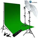 Limo Studio Photography Chroma key Studio Backdrop Lighting Kit Set, Green Chroma key Backdrop, (2) Umbrella Reflector Studio Lighting, Backdrop Support Stand with Carry Bag, AGG798V2