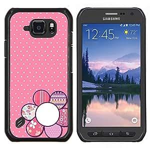 TECHCASE---Cubierta de la caja de protección para la piel dura ** Samsung Galaxy S6 Active G890A ** --polka modelo floral rosado punto blanco pétalo