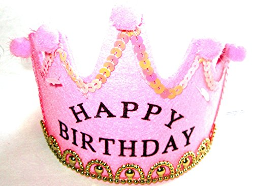 (Princess Happy Birthday Headband - Pink with Gold Accents)