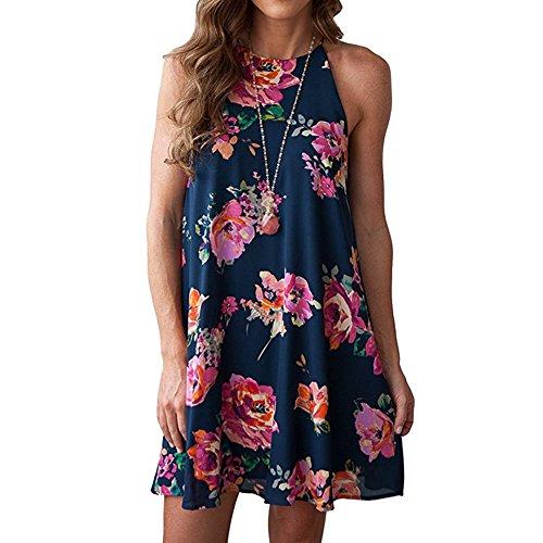 Women's Halter Neck Boho Casual Floral Print Comfortable Chiffon Sleeveless Dress